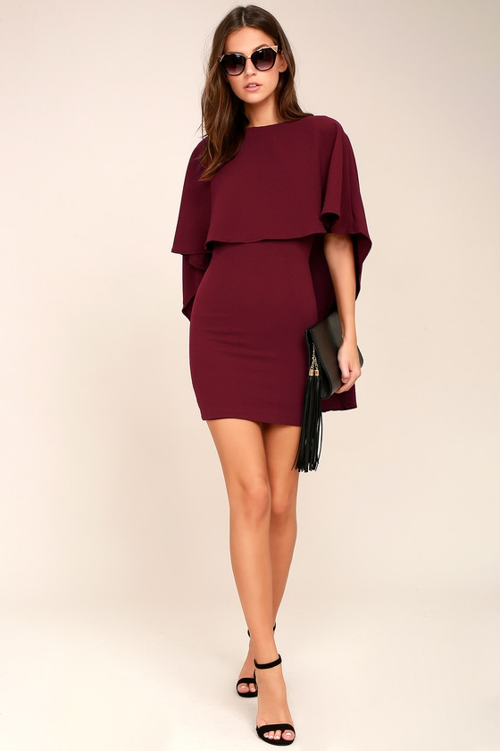 0617531a9ad Burgundy Dress - Backless Dress - Cape Dress
