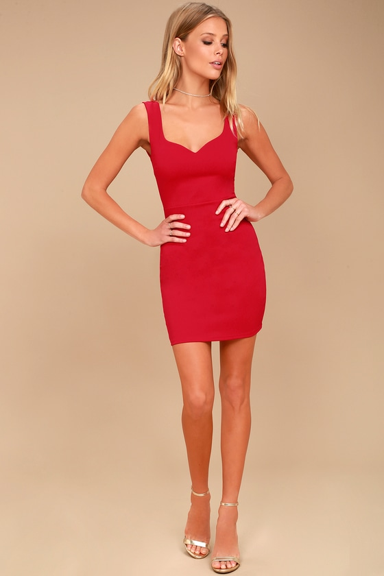 4c7d550f993 Sexy Red Dress - Sweetheart Neckline Bodycon Dress