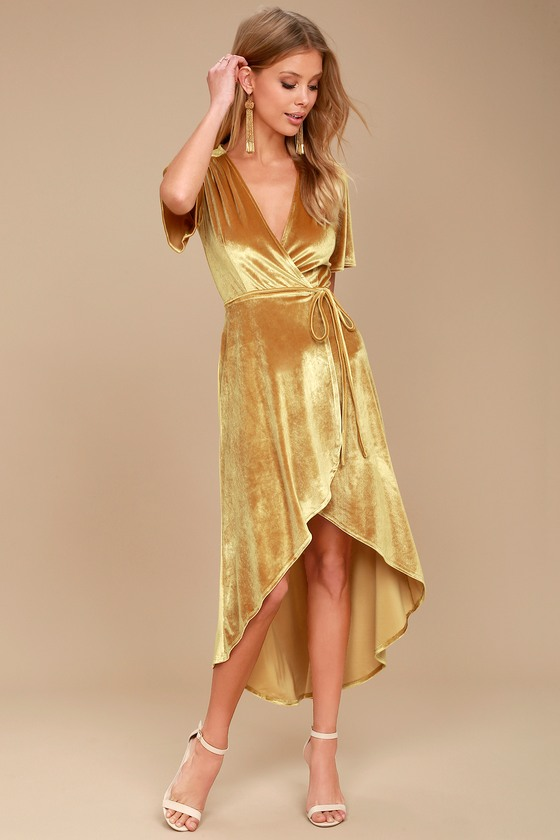 03b80ab5ae38 Lovely Golden Yellow Dress - Velvet Wrap Dress - Midi Dress