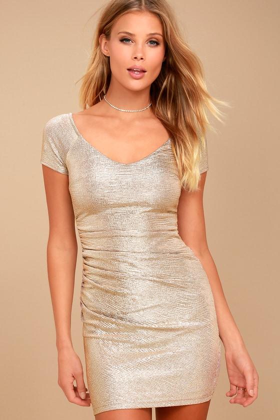 Venetian Gold Off-the-Shoulder Bodycon Dress 2