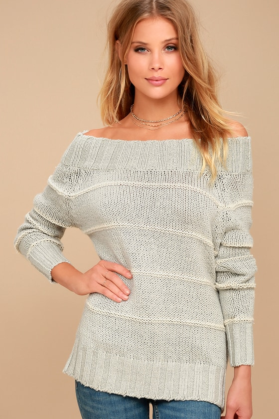 Billabong Snuggle Down Grey Striped Off-the-Shoulder Sweater 1