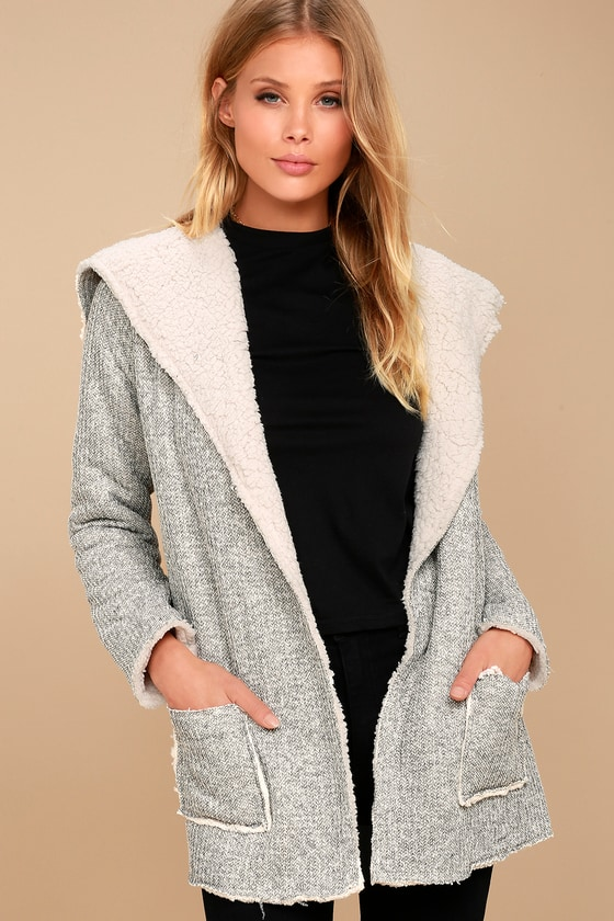 PPLA Lydia Grey Sherpa Coat 1