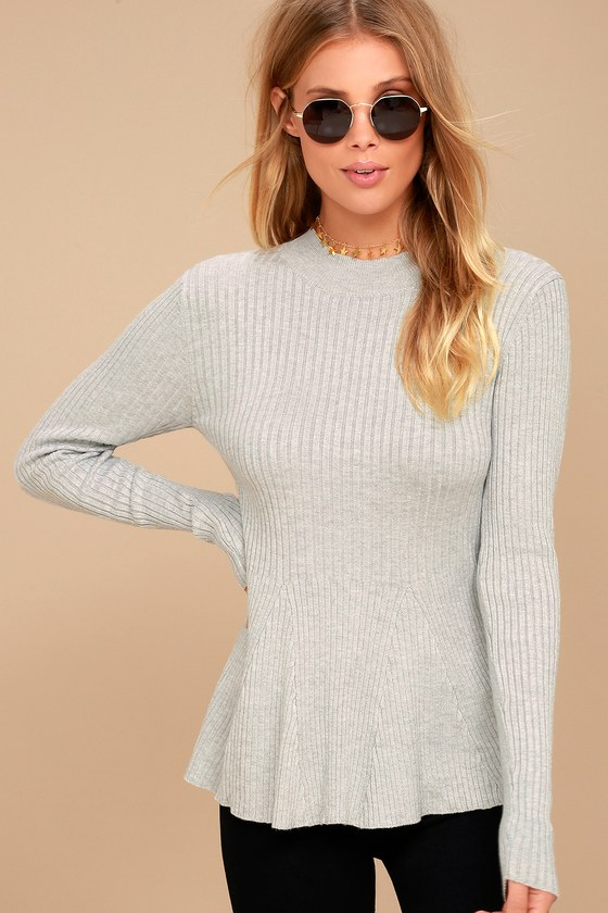 Autobiography Heather Grey Peplum Sweater Top 1