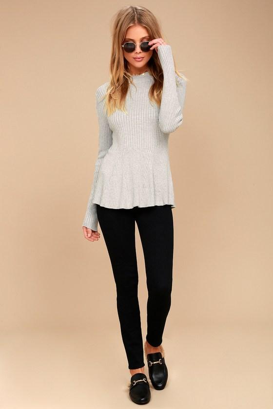 1276345a8ce Cute Heather Grey Top - Peplum Top - Sweater Top