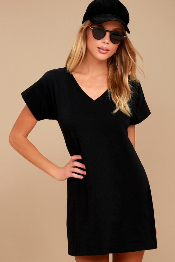 Clear Day Black T-Shirt Dress 1