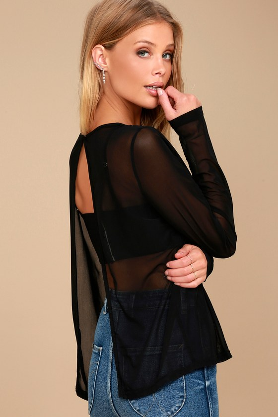 Love Light Black Sheer Mesh Long Sleeve Top 1
