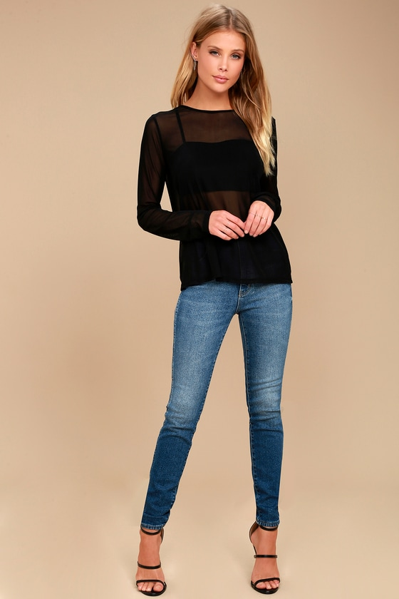 1bff334a16d415 Sexy Black Top - Mesh Top - Long Sleeve Top