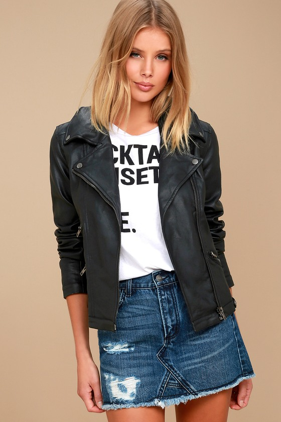 Zelia Black Vegan Leather Moto Jacket 1