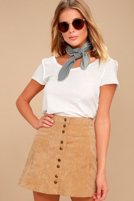 Made with Moxie Tan Corduroy Mini Skirt 1