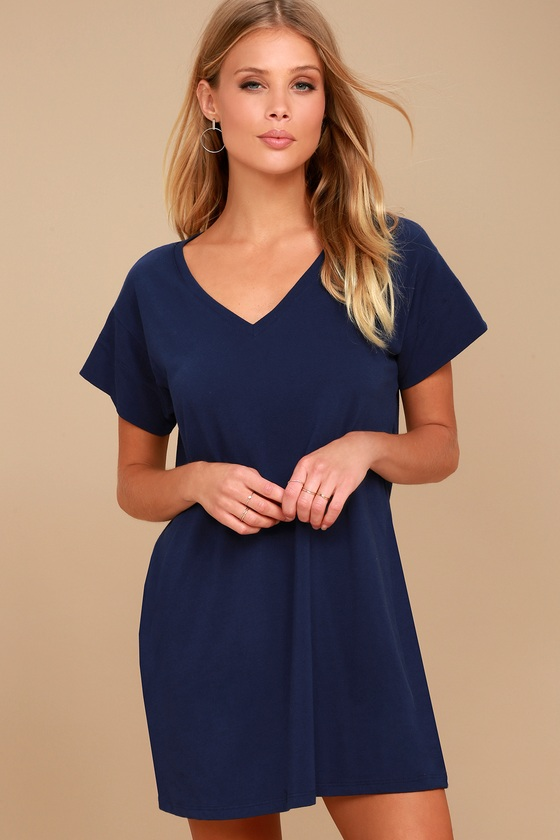 Clear Day Navy Blue T-Shirt Dress 1