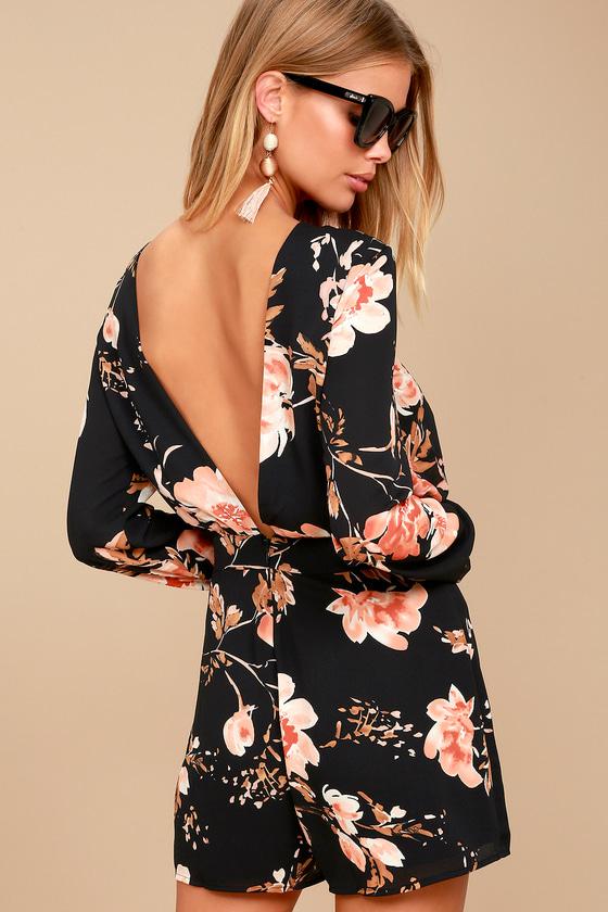 5bd9c8fd65c9 Ali   Jay Flower Power - Black Floral Print Backless Romper