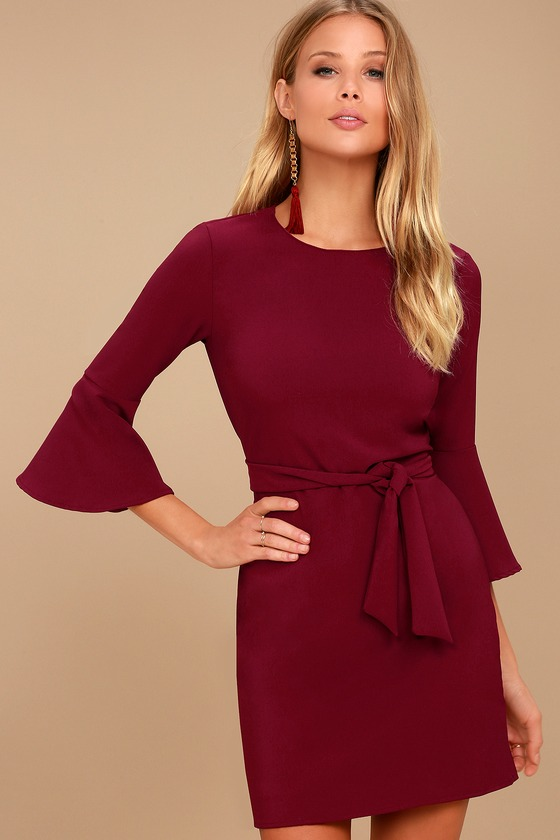 ee4e1d043b0 Chic Burgundy Dress - Flounce Sleeve Dress - Tie-Waist Dress