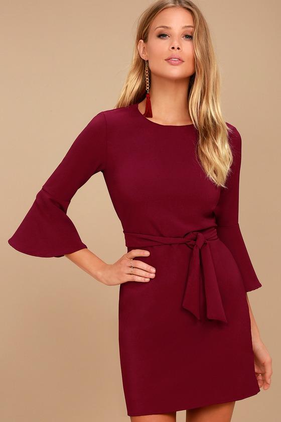 Last Love Song Burgundy Tie-Waist Dress
