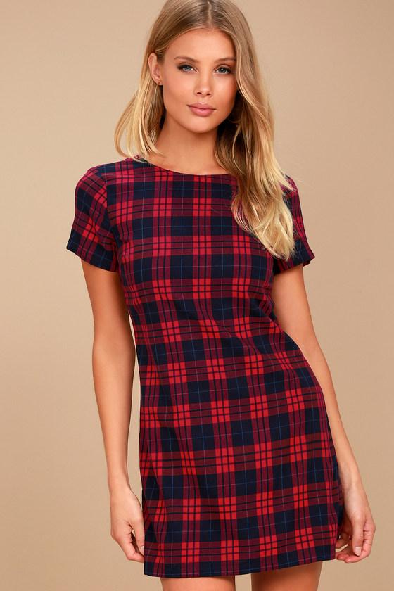 Cozy Corner Red Flannel Shift Dress 1