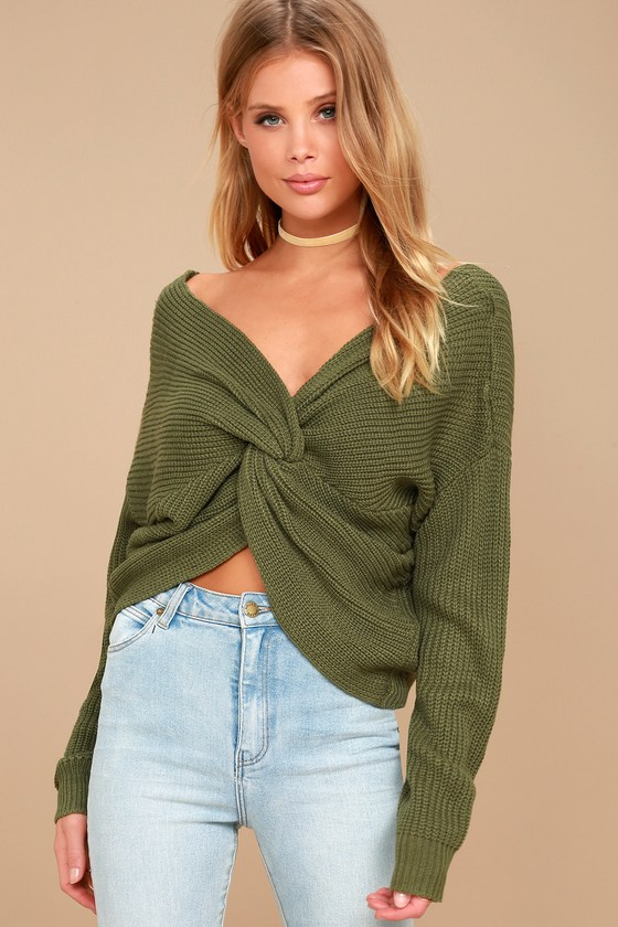 Heart Throb Olive Green Cropped Knit Sweater 1