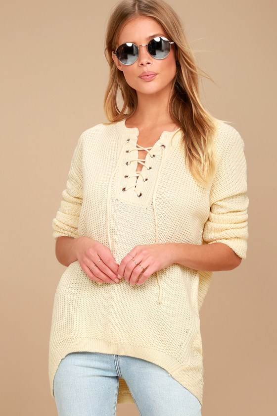 ad005dbdbcd85 PPLA Francesca - Cream Knit Sweater - Lace-Up Sweater