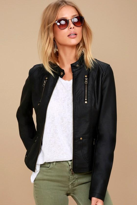 e734d341171 Chic Black Jacket - Moto Jacket - Vegan Leather Jacket -  74.00