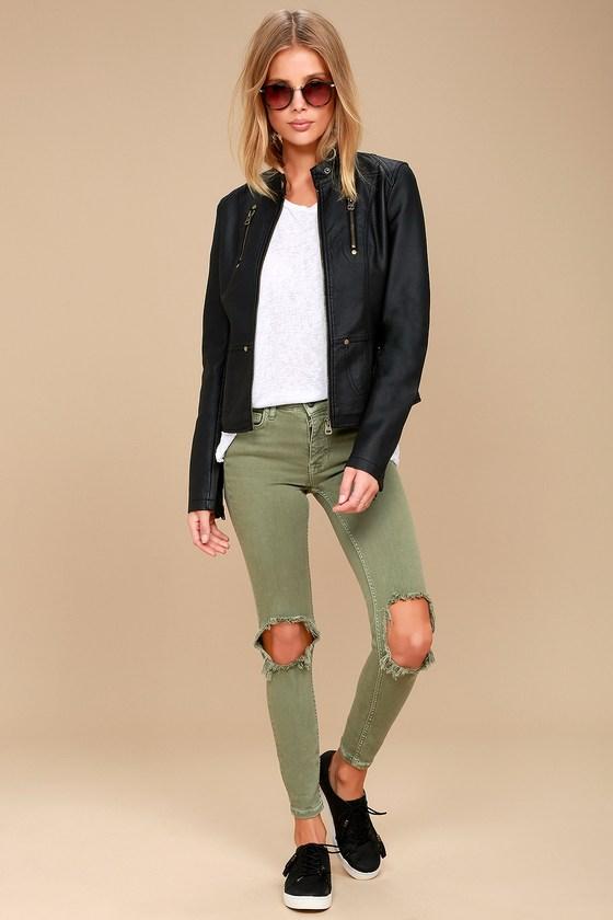 50d619ce0d78a Chic Black Jacket - Moto Jacket - Vegan Leather Jacket -  74.00