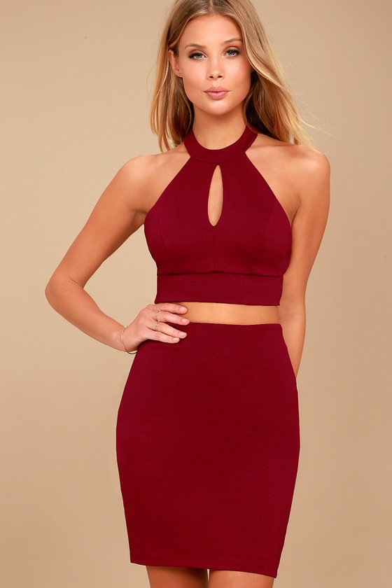 Chic My Interest Red Lace Two-Piece Dress 1