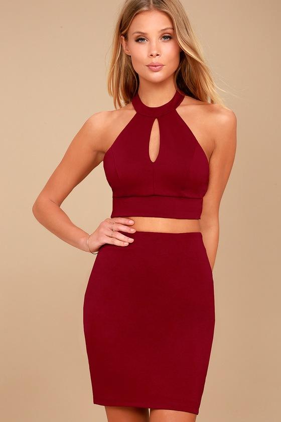 Sexy Wine Red Two Piece Dress Lace Dress Bodycon Dress