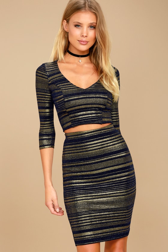 Shimmer Down Navy Blue and Gold Striped Two-Piece Dress 5