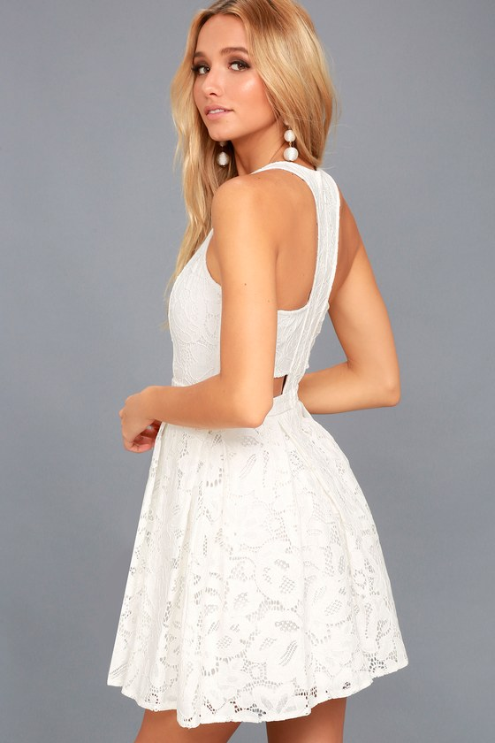 d746e138489 Cute White Dress - Eyelet Lace Dress - Skater Dress