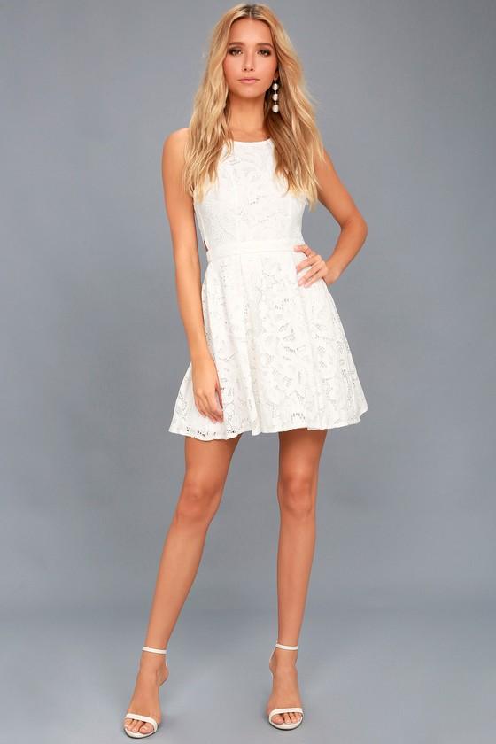 5ca33863881 Cute White Dress - Eyelet Lace Dress - Skater Dress