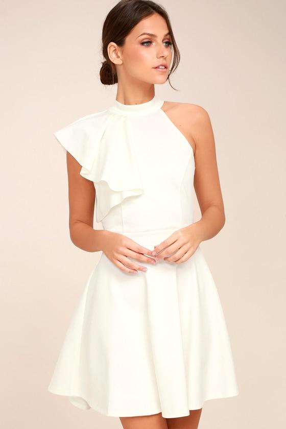 Cute White Dress Skater Dress One Shoulder Dress