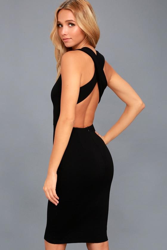 Darling Dance Black Backless Bodycon Midi Dress 2