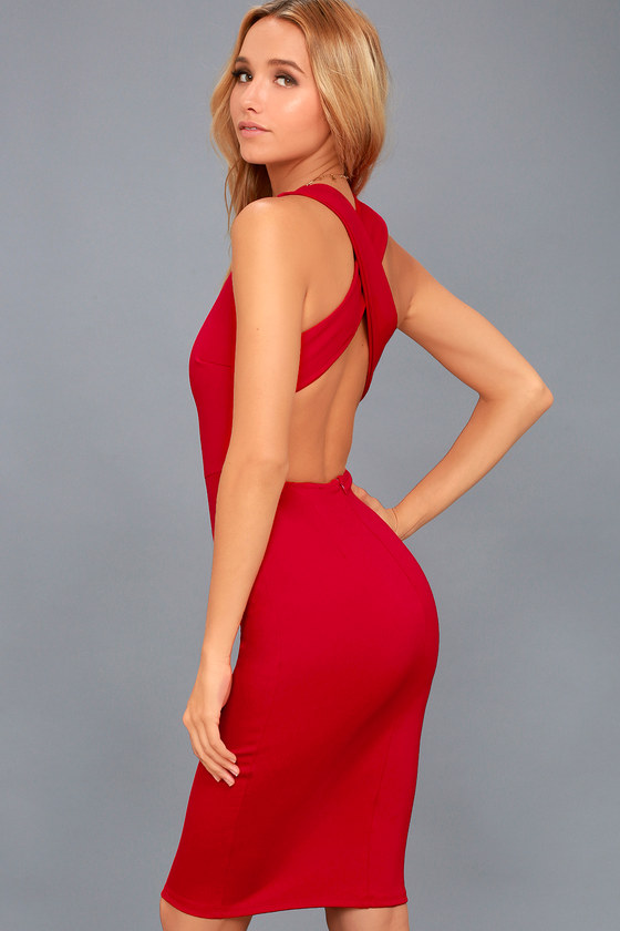 694050e1b1 Stylish Red Bodycon Dress - Midi Dress - Open Back Dress