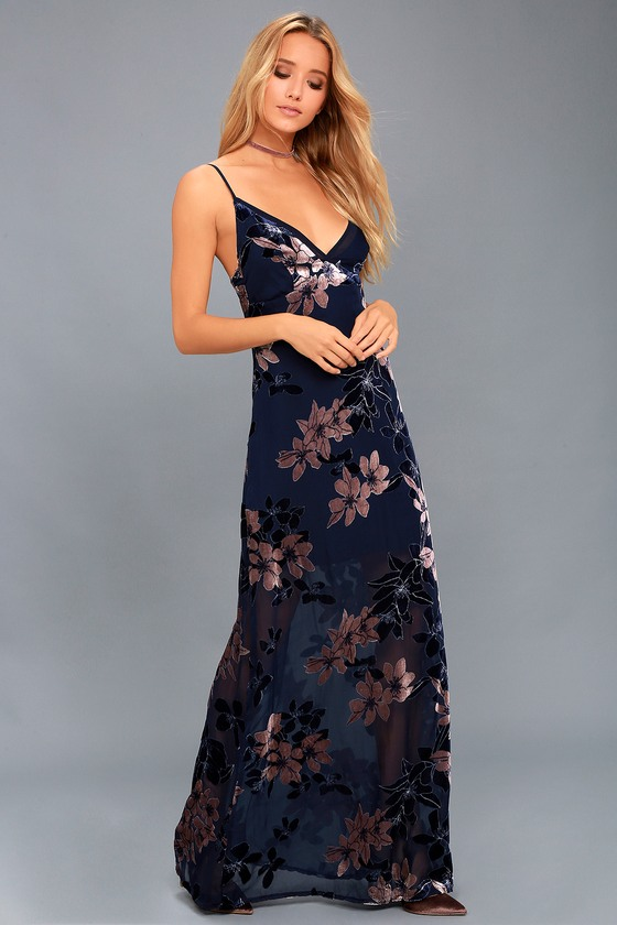 Midnight Love Navy Blue Velvet Floral Print Maxi Dress 2