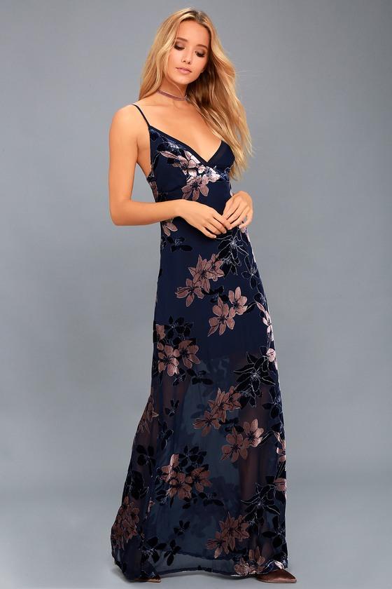 9524282f432 Stunning Maxi Dress - Navy Blue Floral Dress - Velvet Dress