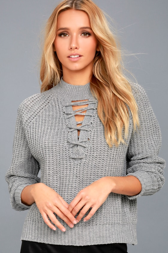 PPLA Tanner Grey Lace-Up Cropped Knit Sweater 1