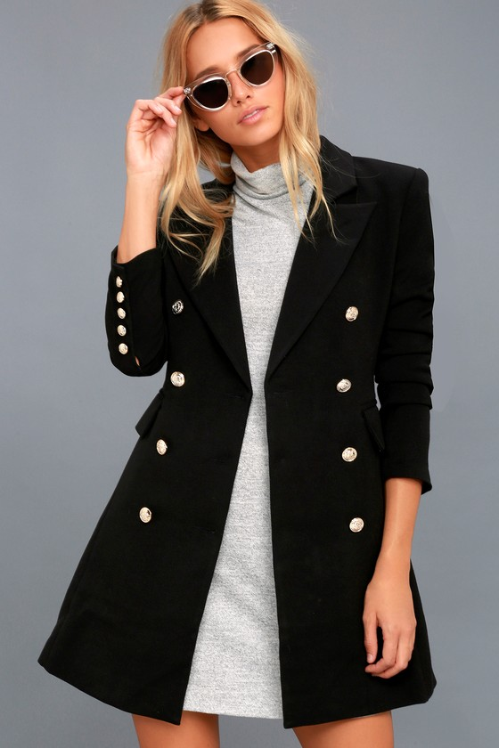 ac107664414 Chic Black Coat - Double-Breasted Coat - Military Coat