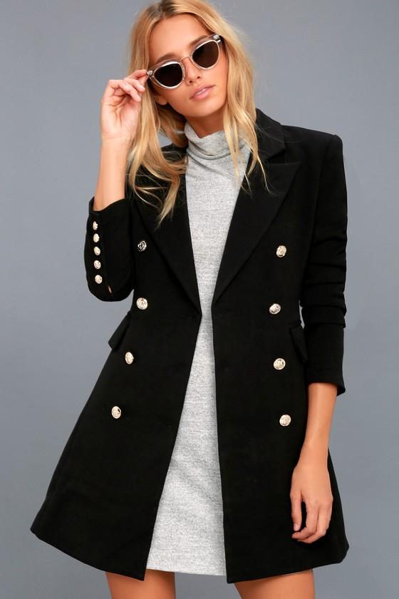 4c76f3e353e Chic Black Coat - Double-Breasted Coat - Military Coat