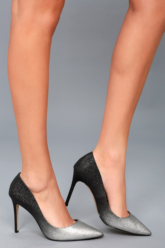 Kyle Silver and Black Glitter Pumps 1