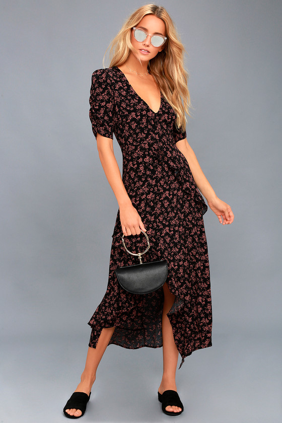 Prairie Serenade Black Floral Print Midi Dress 1