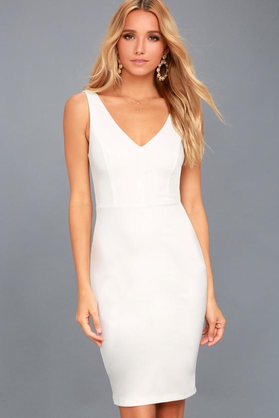 Skyline White Sleeveless Bodycon Dress 1