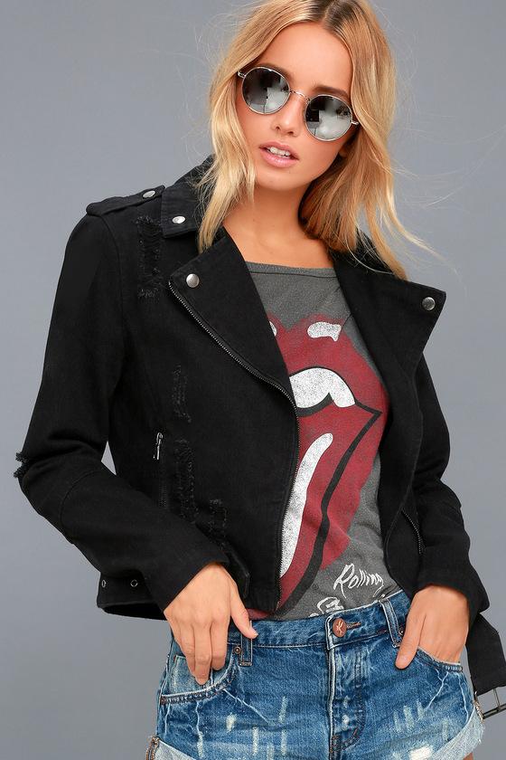 Revved Up Black Denim Moto Jacket 2