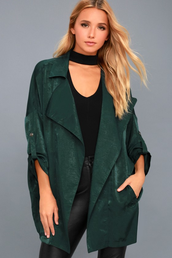 High-Spirited Forest Green Satin Jacket 1