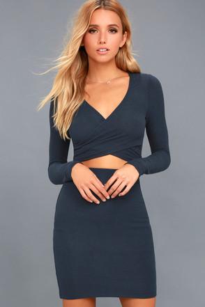 ecc06e5b78 Sexy Dress - Navy Blue Dress - Long Sleeve Dress