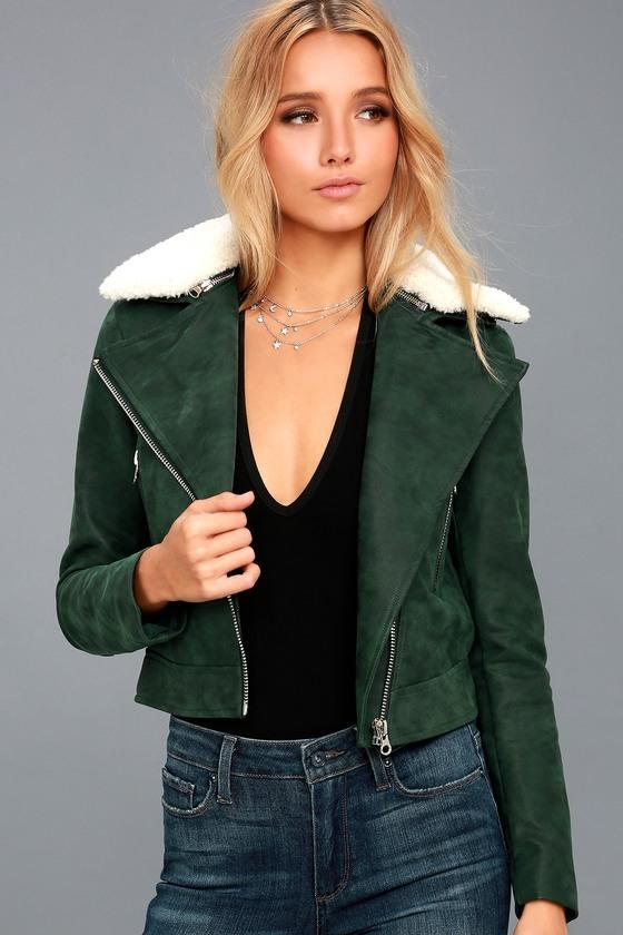 Peak My Interest Forest Green Vegan Leather Moto Jacket 2