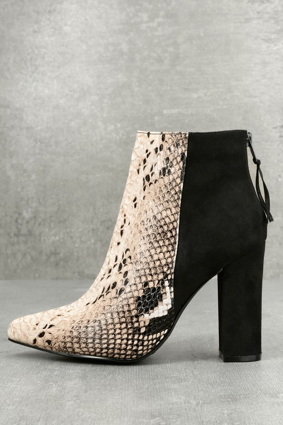 Tiffany Nude and Black Snake Print Ankle Booties 1