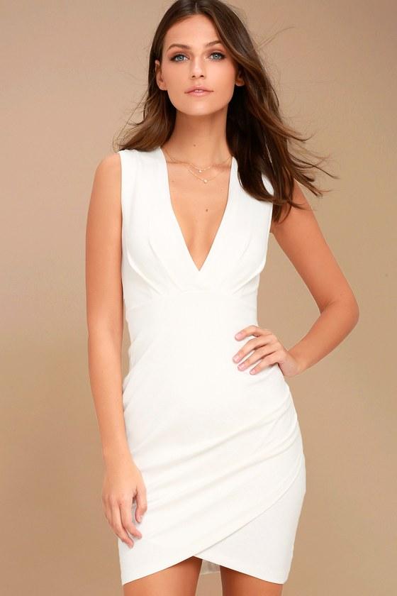 Ivory Dress - Wrap Dress - Sleeveless Dress - $48.00