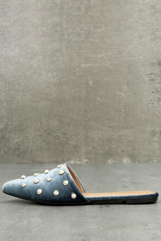 Vivika Blue Velvet Pearl Pointed Toe Flats 1