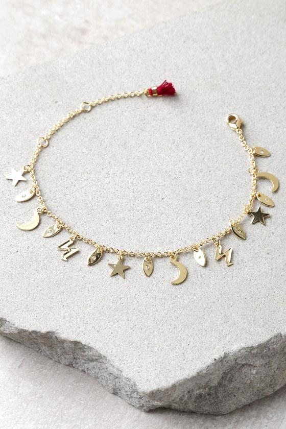 Moon Star Gold Rhinestone Charm Bracelet 1