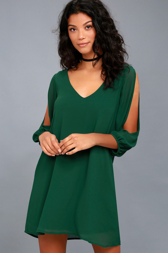 Shifting Dears Forest Green Long Sleeve Dress - Trendy Cocktail