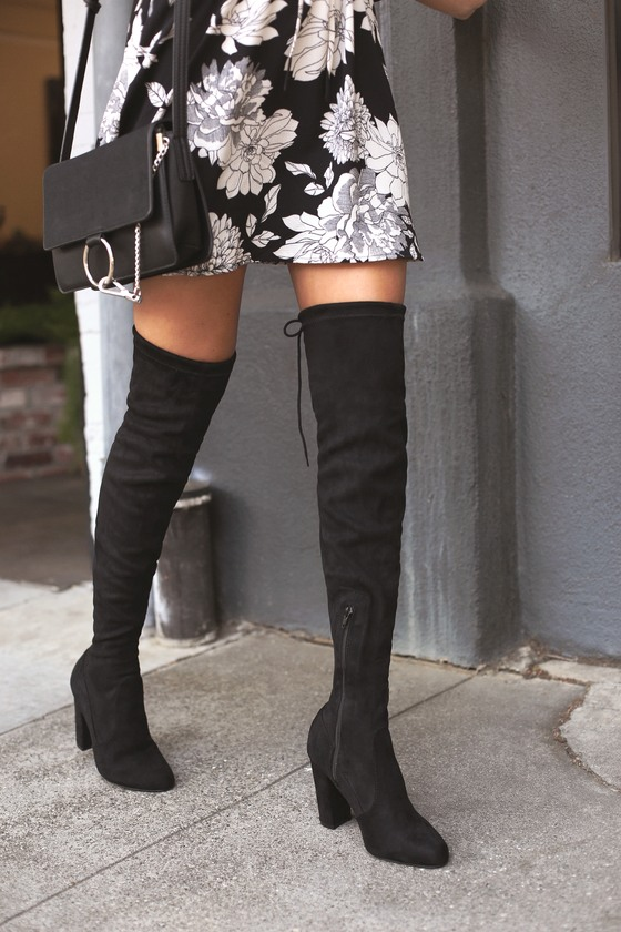 So Much Yes Black Suede Over the Knee Boots