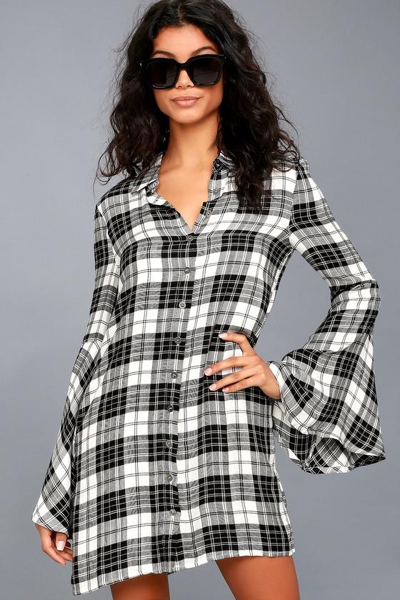 Tymber Black and White Plaid Shirt Dress 2