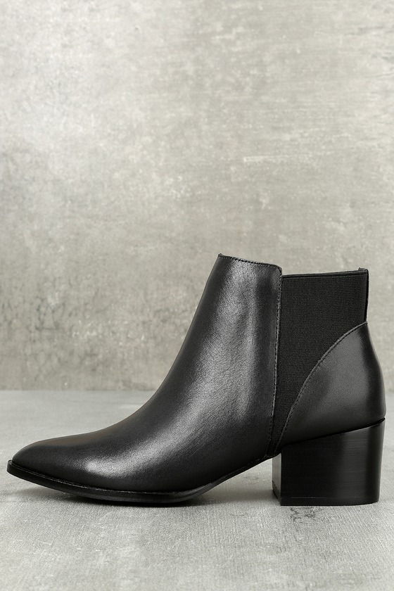 Finn Black Leather Pointed Toe Ankle Booties 1